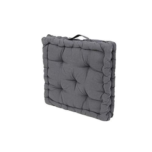 Cojin para Silla de 40 x 40 x 8 cm para Interior y Exterior de 100% algodón cojín Acolchado/cojín para el Suelo (Gris Oscuro, 1)
