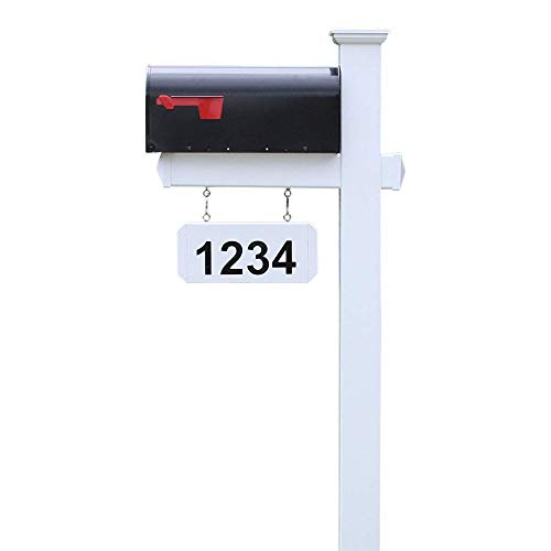 4Ever Products The Harrison Vinyl/PVC Mailbox Post (Includes Mailbox) Complete Decorative Curbside Combo Mailbox System with Classic Traditional Style (Black Mailbox)