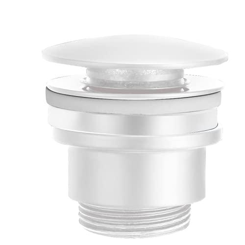Valvula de Click Clack apta para lavabos y bides de laton VCC007-BL Desagüe Lavabo Fácil instalación tapones de Desagüe Lavabo, Universal con o sin Rebosadero, Pop-Up color blanco mate