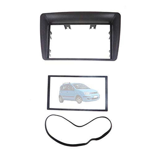 Mundodo Compatible con FI&AT Panda 2003-2012 Auto Marco Radio Coche 2 DIN Fascia de Radio Embellecedor Placa Estéreo Kit Panel Tablero DVD CD Soporte,178×102mm