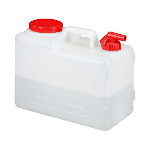 Relaxdays Bidón con Grifo, Tapón de Rosca, Depósito de Agua Potable, para Camping, 15 litros, Sin BPA, 1 Ud., Blanco/ Rojo
