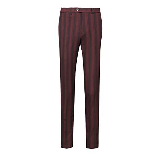 Mens Straight Fit Plaid Stripe Suit Pants Formal Dress Trousers