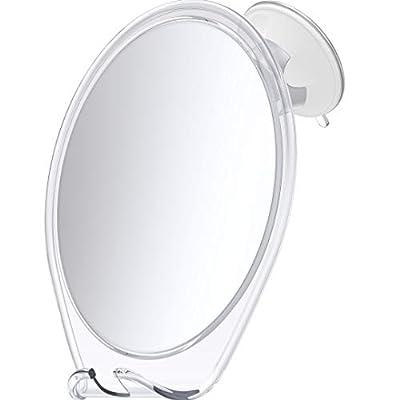 HoneyBull LLC HoneyBull Shower Mirror for Shaving Fogless with Suction, Razor Holder, and Swivel (White)