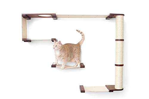 CatastrophiCreations Cat Mod Climb Track Handcrafted Wall Mounted Cat Tree Shelves, English Chestnut/Natural, One Size (528375911ENNAT)