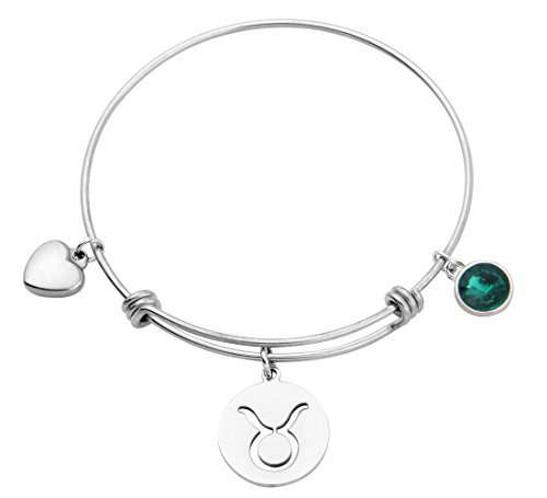 KUIYAI Stainless Steel Zodiac Sign and Birthstone Charm Necklace Bracelet (May-Taurus bracelet)