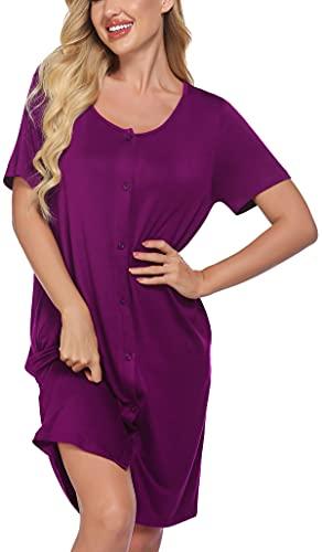 Meaneor - Camisón de lactancia para mujer, para embarazadas, pijama de verano, ropa de maternidad, camisón con botones continuos morado XL