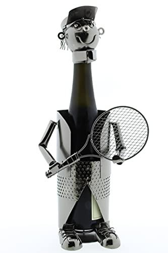 KMC Austria Design Portabotellas de metal – tenista – aprox. 24 x 17 cm – Soporte decorativo para botellas para la ocasión adecuada