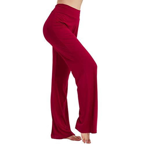 Zero Zoo Boot Cut Athletic Pants for Women, Bootleg Yoga Pants Stretch Flared Slacks Women's High Waist Yoga Pants Elastic Bootcut Fashion Workout Fitness Pants Wide Leg Comfy Lounge Pants, Maroon, L
