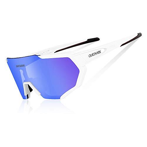 Queshark Occhiali Ciclismo Polarizzati Anti-UV con 3 Lenti intercambiabili per Sport (Bianca)