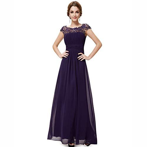 DHF Femenino Lacey Escote Abierto Atrás Vestidos de Noche Busto Ruchado (Color : Lavender Purple, Size : 3XL)