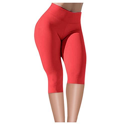 FRAUIT korte dameslegging Capri 3/4 leggings stretch sportbroek yoga fitnessbroek met hoge taille voor workout gym joggingbroek sexy ademend zacht dames meisjes voor workout gym