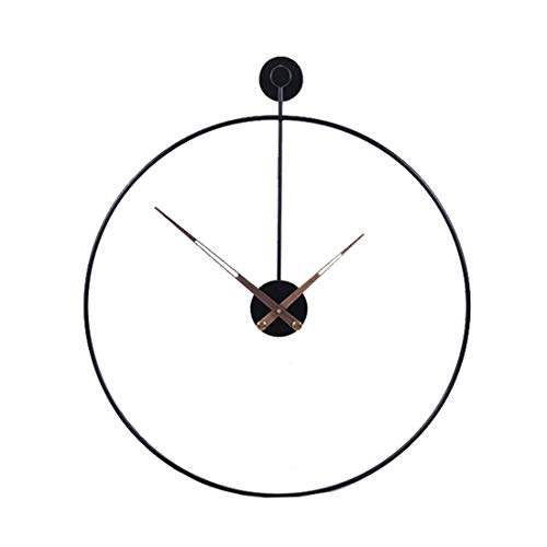 Kepae Reloj de pared en aspecto antiguo de metal, 60 cm, sin ruidos, reloj de pared silencioso para salón, cocina, oficina y dormitorio, color negro, hierro, negro 50 cm, 50 x 57 x 7cm