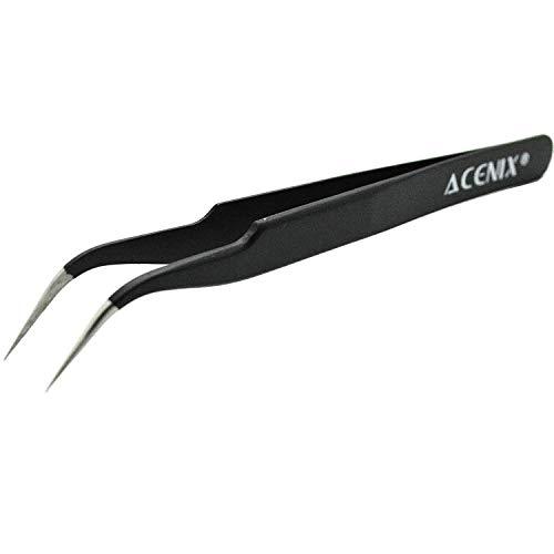 Acenix® professionelle Reparatur-Pinzette, antimagnetischer Edelstahl, mit gebogener Spitze