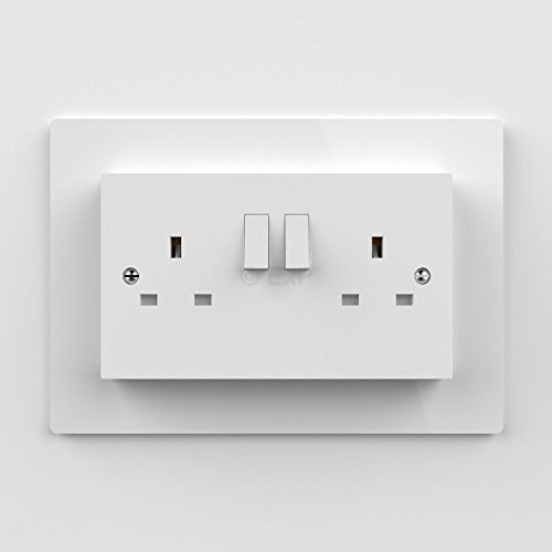 Expression Products Double Light Switch or Plug Socket Back Plate Finger Surround Panel White (8 ColoursAvailable) - Free Trolley Token Material Sample Included per Shipment