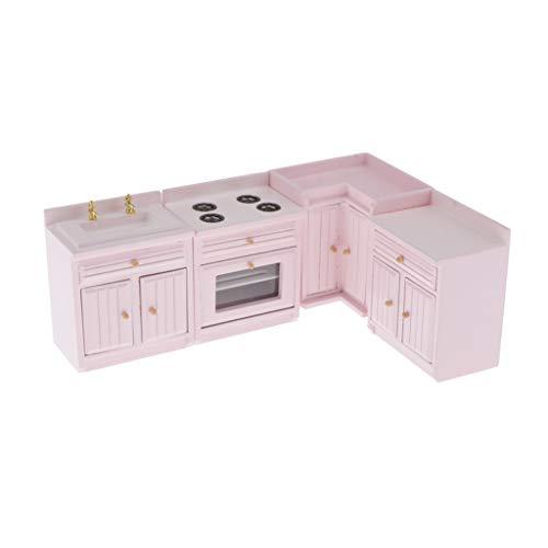 Toygogo Miniatur Puppenhaus Küchenmöbel, 1 / 12. Holzküchenschrank Herd Waschbecken Modell Set, Mit Funktionstüren, Für Puppenhaus Dekorationen Kit