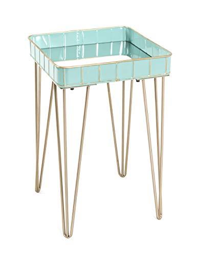 HAKU Möbel Beistelltisch Stahlrohr türkis-bronze 35 x 35 x 56 cm