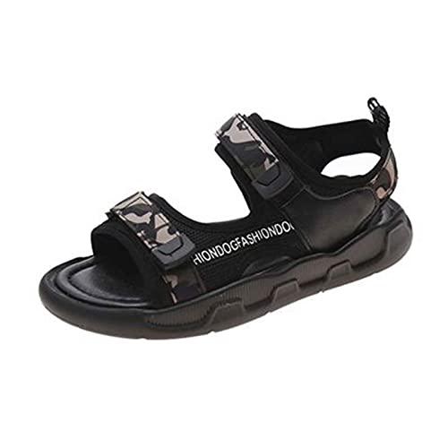 Sandalias para Mujer Flat Verano Exterior Senderismo Cómodo Casual Playa Zapatos Moda Punta Abierta Aldaba Zapato PU Cuero Antideslizante Fondo Grueso Sandalia para jardín,Fiesta,Pool