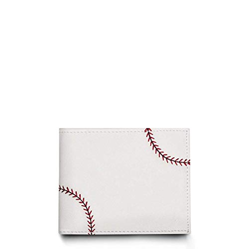 Zumer Sport Baseball Leather Men's Wallet - Made from Actual Ball Material - BiFold Design with Card and ID slots - White with Red Stitching