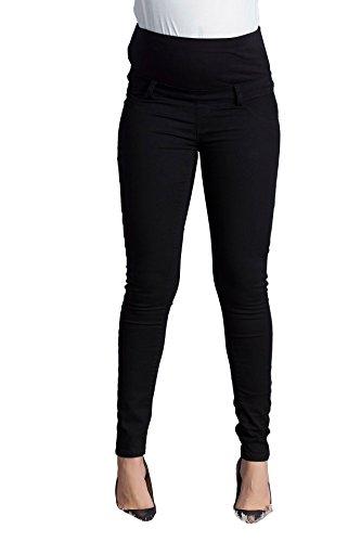 M.M.C. MOM Schlichte Super Skinny Schwangerschafts-Jeans mit verstellbarem Überbauchbund | Bequeme Schwangerschaftshose mit Überbauchbund | Umstandshose | Umstandsjeans | Umstandsmode (Schwarz, 46)
