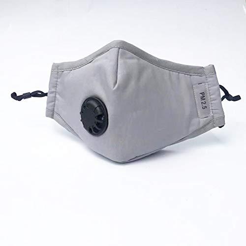 Nyyi Mondmasker, herbruikbaar, stofdicht gezichtsmasker met ademventielen, fietsmaskers voor mannen en vrouwen Grijs,Met 2 filters