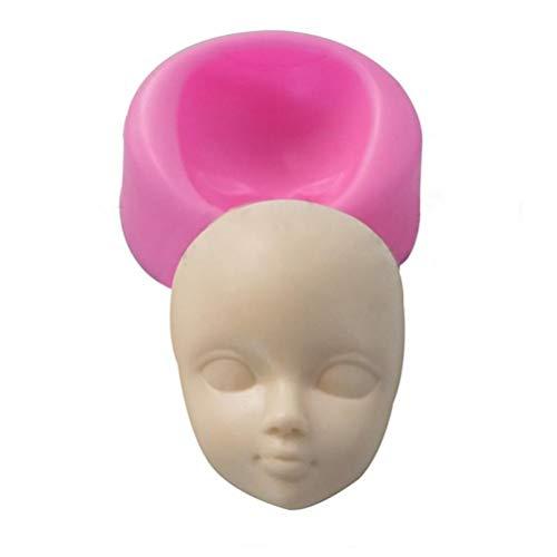 PiniceCore 3D Cara del bebé Arcilla del polímero de la Resina de moldes de la Muchacha Cara Humana, Cabeza Pasta de azúcar Que adorna la Herramienta de Silicona Moldstyle 1