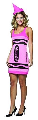 Rasta Imposta Crayola Tank Dress Costume, Tickle Me Pink, Adult 4-10