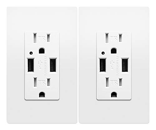 Outlet with USB High Speed Charger 4.2A Charging Capability, Child Proof Safety Duplex Receptacle 15 Amp, Tamper Resistant Wall Socket Plate Included UL Listed MICMI U24, USB outlet 2pack