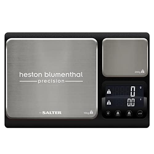 Salter 1049a HBBKDR Balance de cuisine Heston Blumenthal haute qualité finitions en acier inoxydable double plateforme – deux plateaux - Capacité 10kg