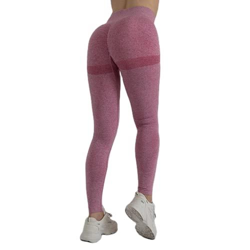 QTJY Damen Slim Seamless Yogahose, Gym Push-ups, Fitnessübungen, Hohe Taille, Hüfthebende Strumpfhose CL