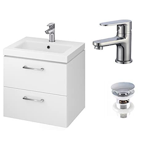 VBChome Waschbecken mit Unterschrank 60 cm mit Armatur und Pop Up ventil 2 Schubladen Weiß Badmöbel weiß Hochglanz Click Clack Badezimmermöbel hängend