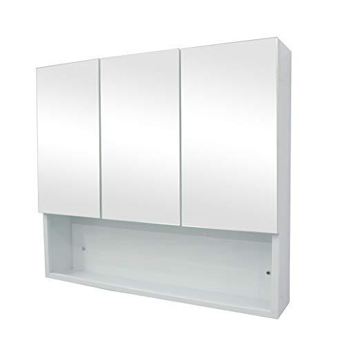 Janboe Spiegelschrank Bad 80 cm Breit weiß Spiegelschrank 3 türig Viel Stauraum und offenen Fächern 80x70x15cm