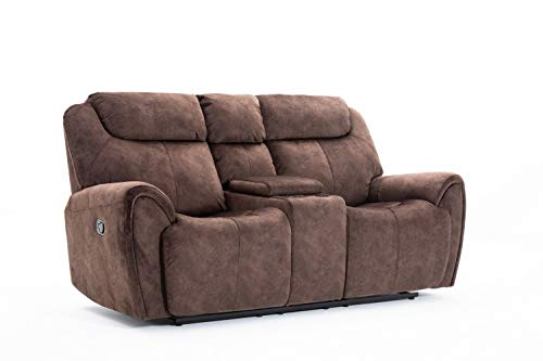 Blackjack Furniture Townsend Collection Modern Velvet Upholstered Living Room Reclining, Console Loveseat, Brown