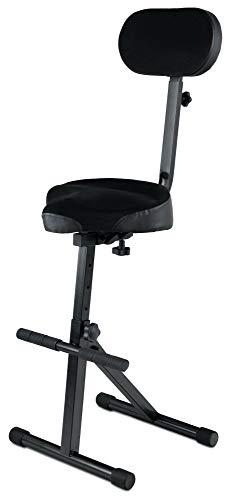 Classic Cantabile ST-200 PRO Stehhilfe Stehstuhl Stehsitz Bügelstuhl (massives Stahlgestell, Gummifüßen, Sitzhöhe 5-stufig, 57-81 cm einstellbar, Sitzfläche BxHxT: 41 x 8,5 x 37 cm) schwarz