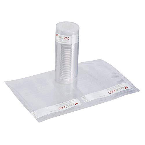 Magic Vac ACO1025 - Pack de 2 rollos con etiqueta pre-impresa, 30 cm x 6 m, Libres de BPA, se puede lavar, cocinar, usar en nevera, hervir, congelar y descongelar, color blanco