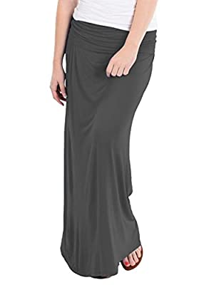 Hybrid & Company - Women's Maxi Skirt W/ Fold Over Waist Band - Made in the USA