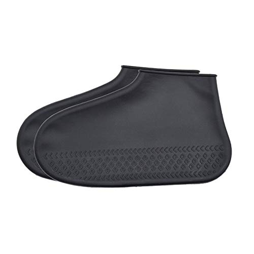 Cerolopy Cubrezapatos de silicona, impermeables, unisex, reutilizables, antideslizantes, protectores de zapatos para días lluviosos y al aire libre (M negro)