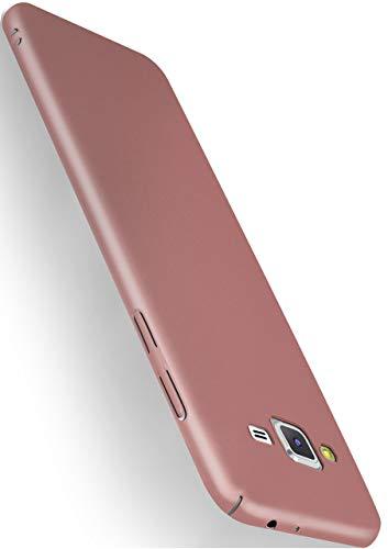 MoEx® Alpha Case kompatibel mit Samsung Galaxy J3 (2016) Hülle Dünn   Ultra-Slim Handyhülle - Metallic Schutzhülle Handy Cover, Matt Rosé-Gold