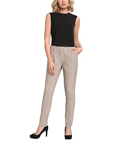 APART Fashion Damen 20685 Jumpsuit, Mehrfarbig (Schwarz-Taupe), 42