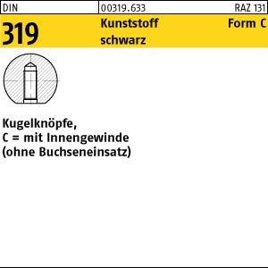 10 kogelknoppen DIN 319 C 50 M12 zwart binnendraad of bus