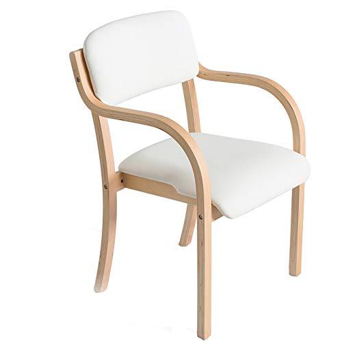 HYXQY eetkamerstoel massief houten stoel stoel stoel minimalistisch modern bureaustoel thuis computerstoel Wit.