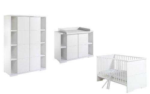 Schardt 118615202 kinderkamer Maximo, wit, bestaande uit combi-kinderbed, commode en 2-deurs kledingkast, 2 zijplanken