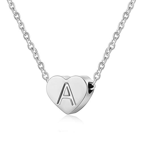 AFSTALR Heart Letter Initial Necklace for Women - Personalized Girls Tiny Initial Alphabet Love Choker Necklace, Silver Letter A Necklace