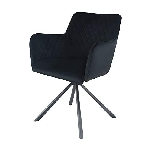 Damiware Silla giratoria con reposabrazos | Silla de diseño para salón, comedor, oficina con funda de tela (terciopelo negro)