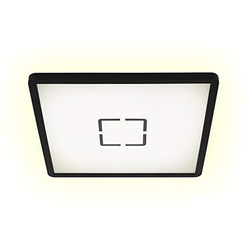 Preisvergleich Produktbild Briloner Leuchten LED Deckenleuchte,  Deckenlampe mit Hintergrundbeleuchtungseffekt,  18 W,  2.400 Lumen,  4.000 Kelvin,  Quadratisch,  Weiß-Schwarz