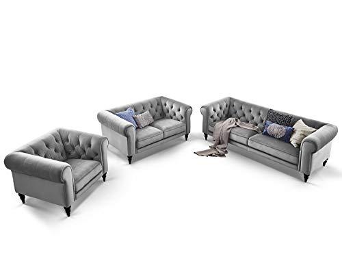 Moebella Chesterfield Sofas Samt 3-2-1-Sitzer Sitzgarnitur Couch Hudson Massivholz Füße schwarz mit Knopfheftung (Grau)