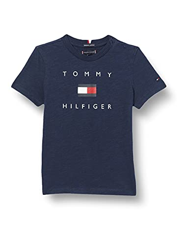 Tommy Hilfiger Hilfiger Logo Tee S/S Camicia, Twilight Navy, 14 Bambino
