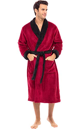 Alexander Del Rossa Men's Warm Fleece Robe, Plush Bathrobe, Large-XL Burgundy with Black Contrast (A0114BRBXL)