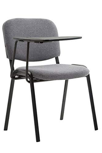 CLP Besucherstuhl Ken mit Klapptisch | Robuster Konferenzstuhl mit gepolsterter Sitzfläche und Stoffbezug, Farbe:grau