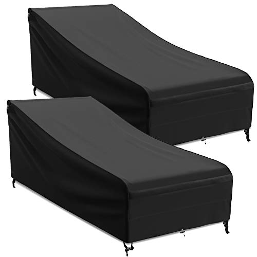MR. COVER 86 inch Outdoor Chaise Lounge Cover, Waterproof Patio Furniture Cover for Lounge Chair, Durable and Sturdy Fabric, All Weather Protection, Large, 2 Pack