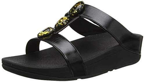 Fitflop Fino Metallic Fleck Stone H Slides, Sandalias de Punta Descubierta para Mujer